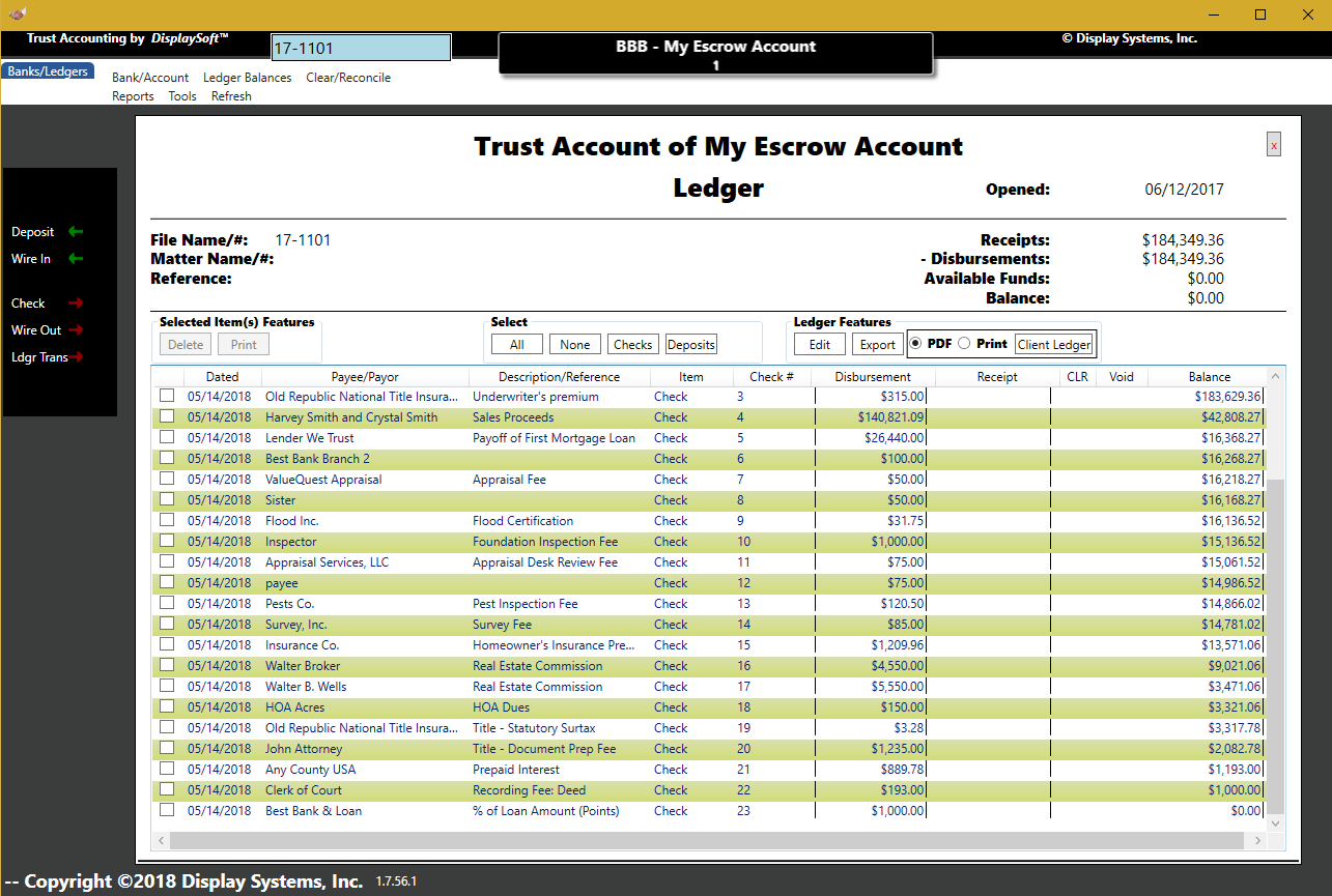 DisplaySoft™ Trust Account Module